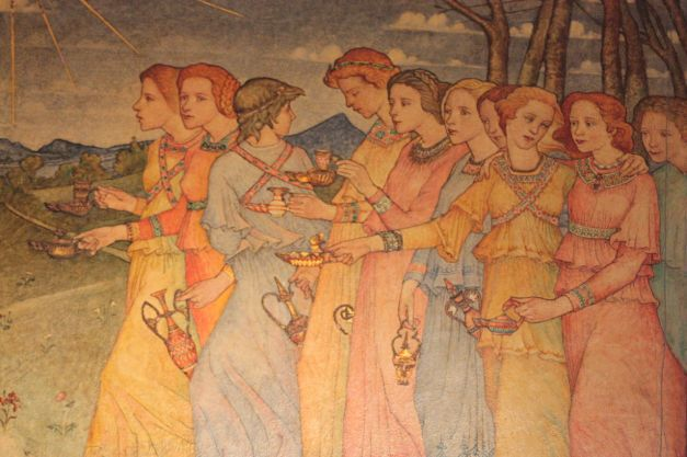 The_Parable_of_the_Ten_Virgins_(section)_by_Phoebe_Traquair,_Mansfield_Traquair_Church,_Edinburgh